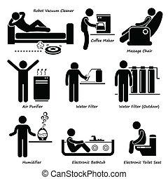 eletrônico, avançado, eletrodomésticos, ícone