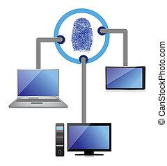 eletrônico, conexão, segurança, impressão digital, diagrama