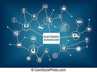 eletrônico, cuidados de saúde, fundo