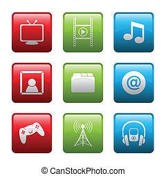 eletrônico, entretenimento, ícones