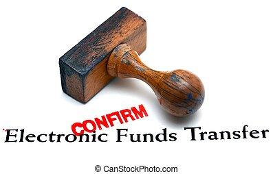 eletrônico, fundos, transferência