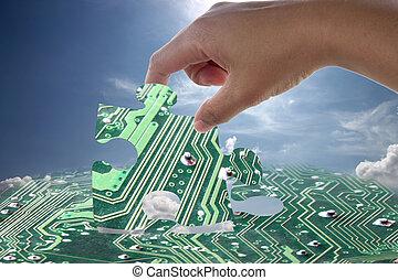 eletrônico, jigsaw, pattern., mão