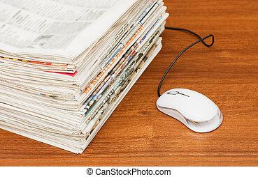 eletrônico, notícia, em, internet