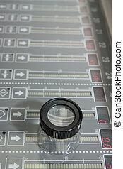 eletrônico, painel controle, de, offset, máquina