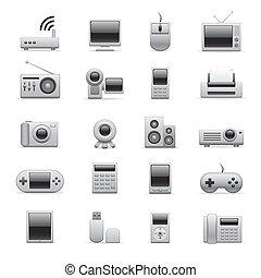 eletrônico, prata, ícones
