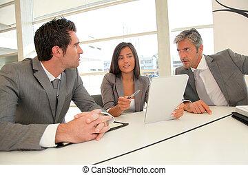 eletrônico, reunião, negócio, tabuleta