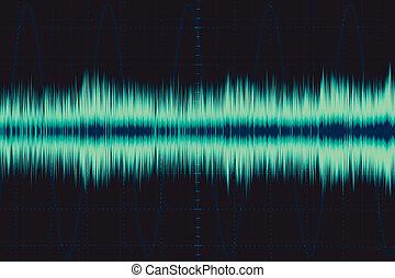eletrônico, wave., som, frequência, wave., osciloscópio,...