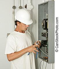 eletricista, aparando, fio
