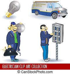 eletricista, arte, clip, cobrança