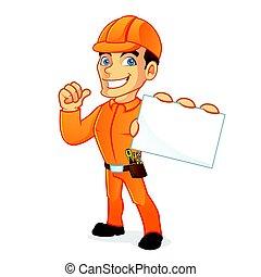 eletricista, cartão negócio, segurando