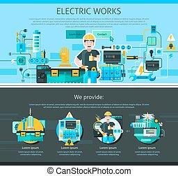 eletricista, desenho, página, um