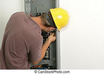 eletricista, fio, conectando