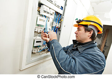 eletricista, instalar, energia, poupar, medidor