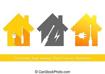 eletricista, logotipo, conceito