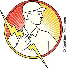 eletricista, parafuso relâmpago, segurando, círculo, monoline