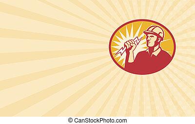 eletricista, poder, trabalhador, parafuso relâmpago, linha