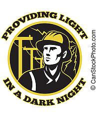 eletricista, repairman, poder, atacante, polaco