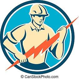 eletricista, segurando, parafuso relâmpago, círculo, retro