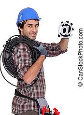 eletricista, segurando, símbolo