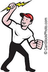 eletricista, trabalhador construção, caricatura
