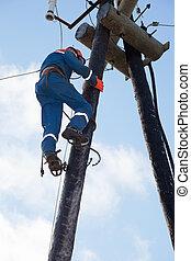 eletricista, trabalhando, altura