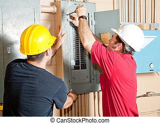 eletricista, trabalho equipe