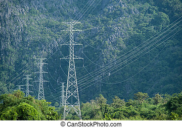 eletricity, タワー, そして, 緑, 環境
