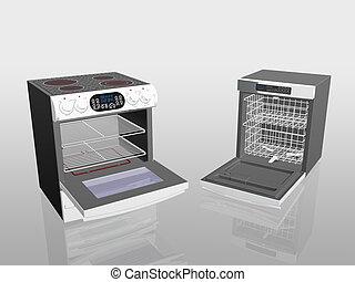 eletrodomésticos lar, fogão, fogão, prato, washer.