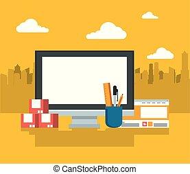 eletronic, dispositivo, modernos, dispositivo, tecnologia, caricatura