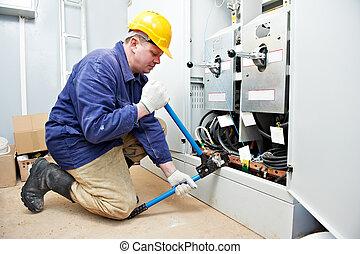 elettricista, cavo, attrezzo, lavoro, cablaggio, increspare