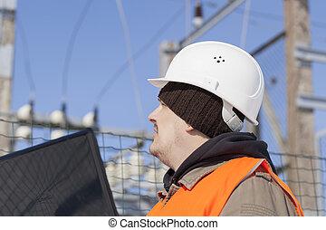 elettricista, con, pc