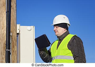 elettricista, con, pc tavoletta