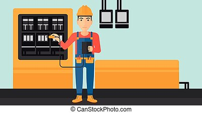 elettricista, elettrico, equipment.