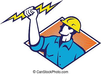 elettricista, lavoratore costruzione, retro