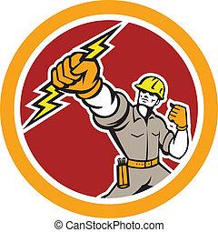 elettricista, maneggiando, freccia lampo, cerchio, retro