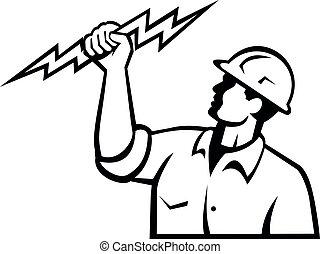 elettricista, potere, costruzione, guardalinee, o, lampo, ...