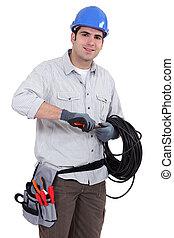 elettricista, preparare, cavo
