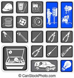 elettricista, quadrato, icone