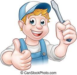elettricista, uomo tuttofare, cartone animato, carattere