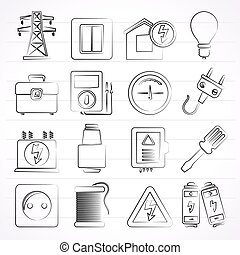 elettricità, energia, potere, icone