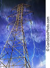elettricità, fondo., traliccio, lampo