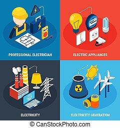 elettricità, isometrico, set, 3d, icona