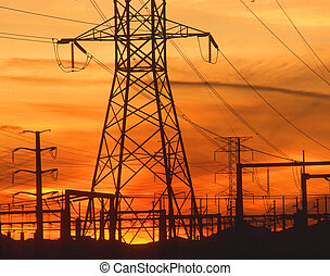 elettricità, piloni, a, arancia, tramonto
