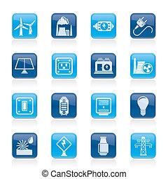 elettricità, potere energia, icone