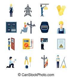 elettricità, riparatori, set, icone