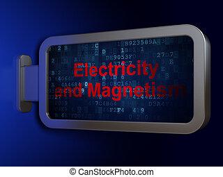 elettricità, scienza, magnetismo, fondo, tabellone, concept: