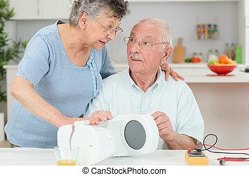 elettrico, anziano, analisi, apparecchio, cittadino