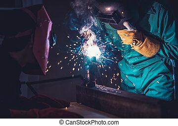 elettrico, arco, metallo lavora, saldatura, macchina, usando, acciaio