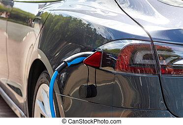 elettrico, batteria, automobile, carica, closeup, stazione, addebitare, vista