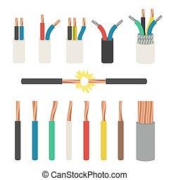 elettrico, cables.